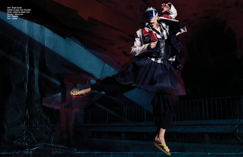 Shirt / Ralph Lauren Leather corsage / Ivan Grundahl  Jacket / Adidas by Jeremy Scott  Trousers / Muuse.com Skirt / Weekday Visor / Mykita