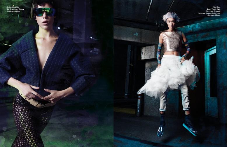 Jacket / Mark Tan Belt & Leggings / Vintage Sunglasses / Céline Top / Zara  Jeans / Calvin Klein  Skirt / Ivan Grundahl  Socks and slippers / Stylist's own  Arm gear / Vintage