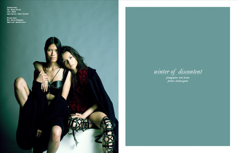 Jasmine wears  Top / Renan Pacson Coat / H&M Leg strap-ons / Maco Custodio Krystal wears Bra / Russel Villafuerte Mens coat / Jerome Lorico
