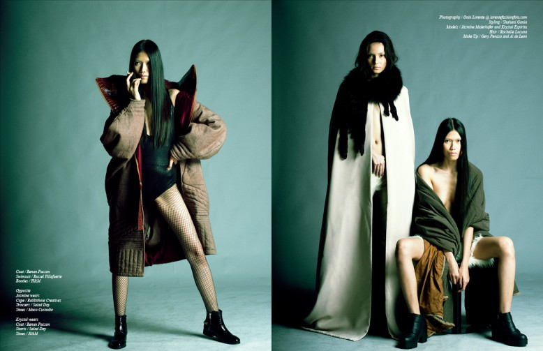 Coat / Renan Pacson Swimsuit / Russel Villafuerte  Booties / H&M Opposite Jasmine wears Cape / Rabbithole Creatives  Trousers / Salad Day Shoes / Maco Custodio Krystal wears Coat / Renan Pacson Shorts / Salad Day Shoes / H&M