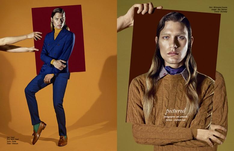 Left to Right/ Suit / Sand Polo neck / Sand  Socks / Falke Shoes / Grenson Opposite Shirt / Billionaire Couture Jumper / Ben Sherman Cravat / Duchamp