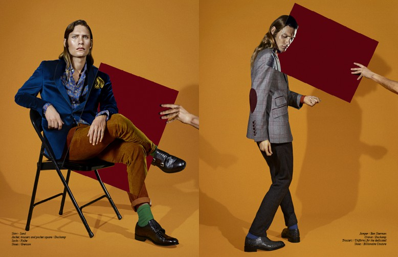 Left to Right/ Shirt - Sand Jacket, trousers and pocket square / Duchamp  Socks / Falke Shoes / Grenson Opposite Jumper / Ben Sherman Cravat / Duchamp  Trousers / Uniforms for the dedicated Shoes / Billionaire Couture