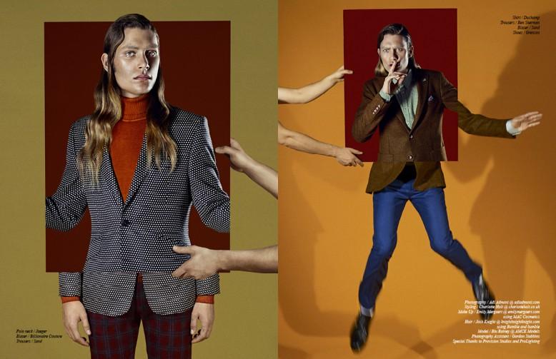 Left to Right/ Polo neck / Jaeger Blazer / Billionaire Couture Trousers / Sand Opposite Shirt / Duchamp  Trousers / Ben Sherman Blazer / Sand Shoes / Grenson