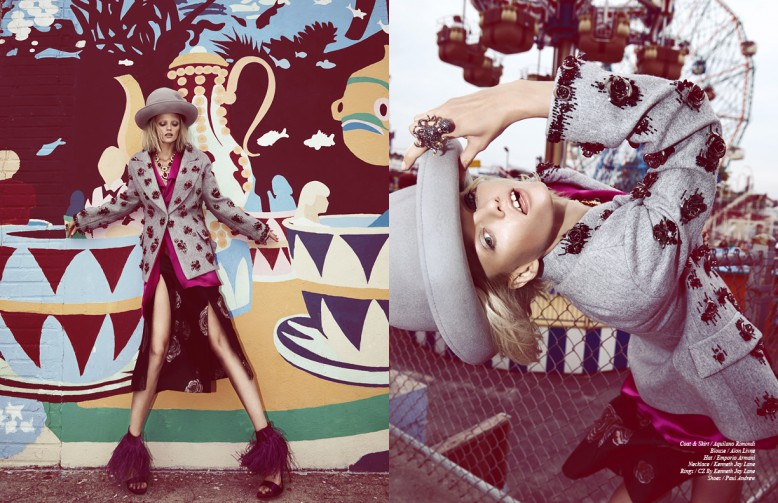 Coat & Skirt / Aquilano Rimondi Blouse / Alon Livne Hat / Emporio Armani Necklace / Kenneth Jay Lane Rings / Cz By Kenneth Jay Lane Shoes / Paul Andrew
