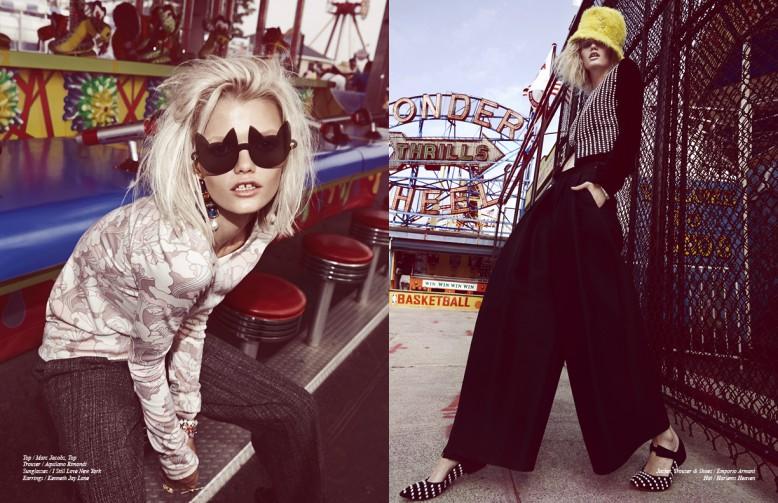 Top / Marc Jacobs, Top Trouser / Aquilano Rimondi Sunglasses / I Still Love New York Earrings / Kenneth Jay Lane