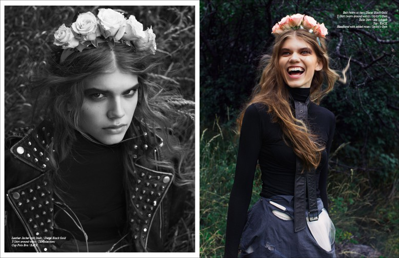 Left/ Jacket with Studs / Diesel Black Gold T-Shirt around waist / TK Collections Cup Polo Bra / BACK Right/ Belt (worn as tie) / Diesel Black Gold T-Shirt (worn around waist) / Stylist's Own Tulle Skirt / Ida Sjöstedt Top / BACK Headband with added roses / Stylist's Own