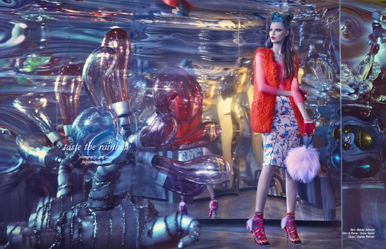 Vest / Betsey Johnson  Skirt & Purse / Tanya Taylor Shoes / Sophia Webster