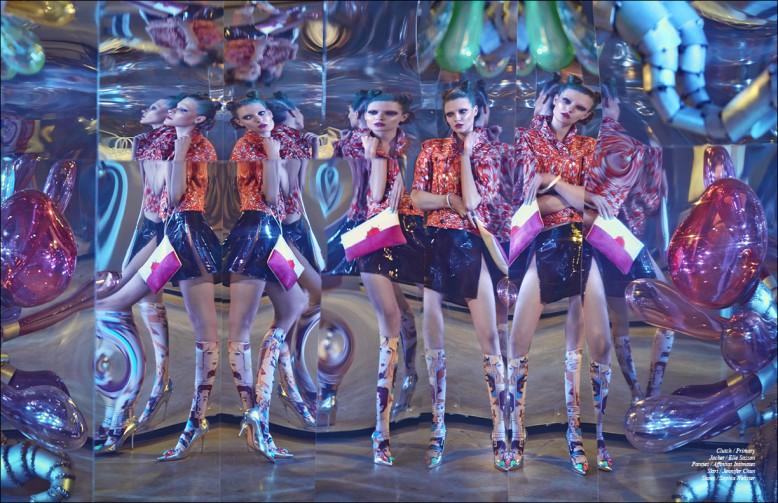 Clutch / Primary  Jacket / Elle Sasson  Panties / Affinitas Intimates Skirt / Jennifer Chun  Shoes / Sophia Webster