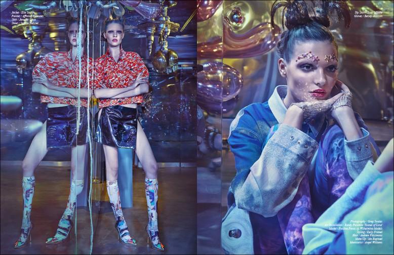 Left to Right/ Jacket / Elle Sasson  Panties / Affinitas Intimates Skirt / Jennifer Chun Shoes / Sophia Webster Opposite Sky Shirt / Issey Miyake Gloves / Betsey Johnson