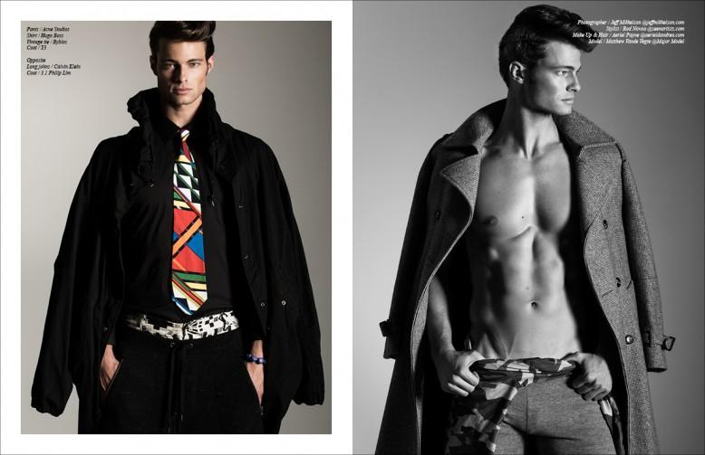Left/ Pants / Acne Studios  Shirt / Hugo Boss  Vintage tie / Byblos Coat / Y3 Right/ Long johns / Calvin Klein Coat / 3.1 Philip Lim