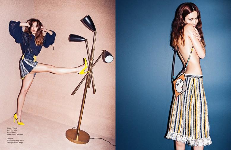 Blouse / Chloé Bra / La Perla Skirt / Marni Shoes / Stuart Weitzman Opposite Skirt & bag / Tory Burch Earrings / Eddie Borgo