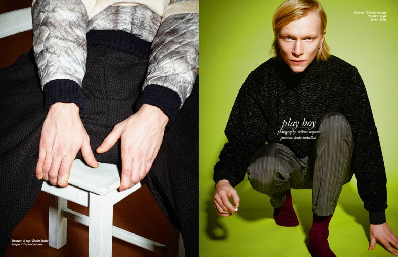 Left Trousers & cap / Études Studio Jumper / J'ai mal à la tete Right Pullover / J'ai mal à la tete Trousers / Hope Socks / Falke