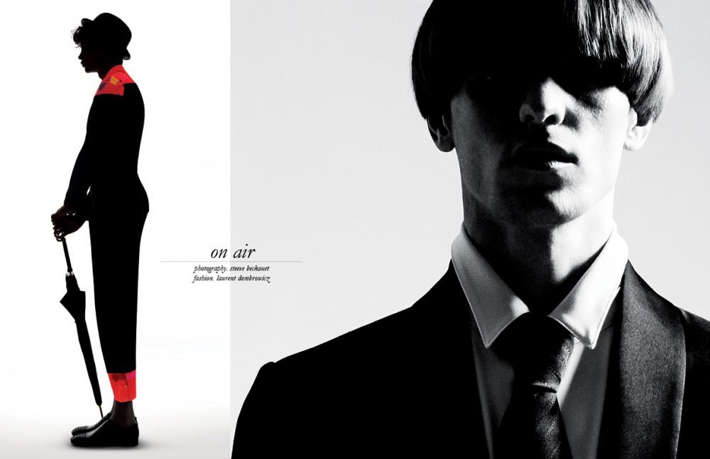 Jacket & trousers / Yohji Yamamoto Hat / Stetson Umbrella / Pasotti @ Stefanie Renoma Shoes / Christian Louboutin Opposite Coat & jacket / Maison Margiela Shirt / Dior Homme Tie / Charvet