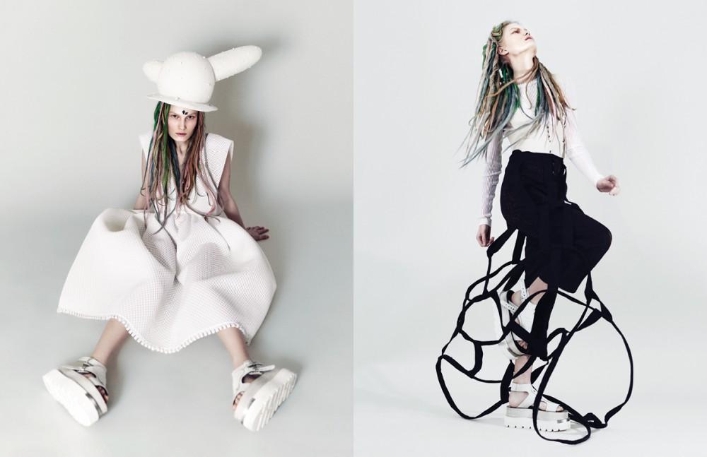 Dress / Bowie Wong Hat / Laurens & Chico Sandals / MM6 Maison Margiela Opposite Top / Carven Trousers / Aganovich Braces / Véronique Leroy Crinoline / Yohji Yamamoto Sandals / MM6 Maison Margiela