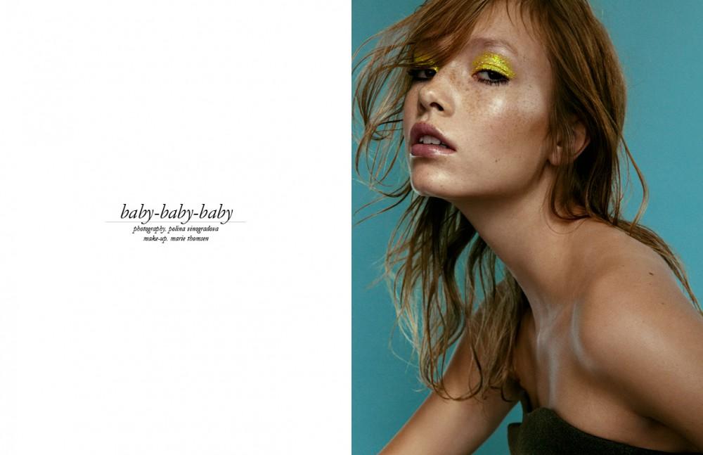 Martine M @Scoop Models wears Top / Stella McCartney Re ects Glitter 'Chartreuse' Strobe Cream & Haute &' Naughty Mascara / MAC