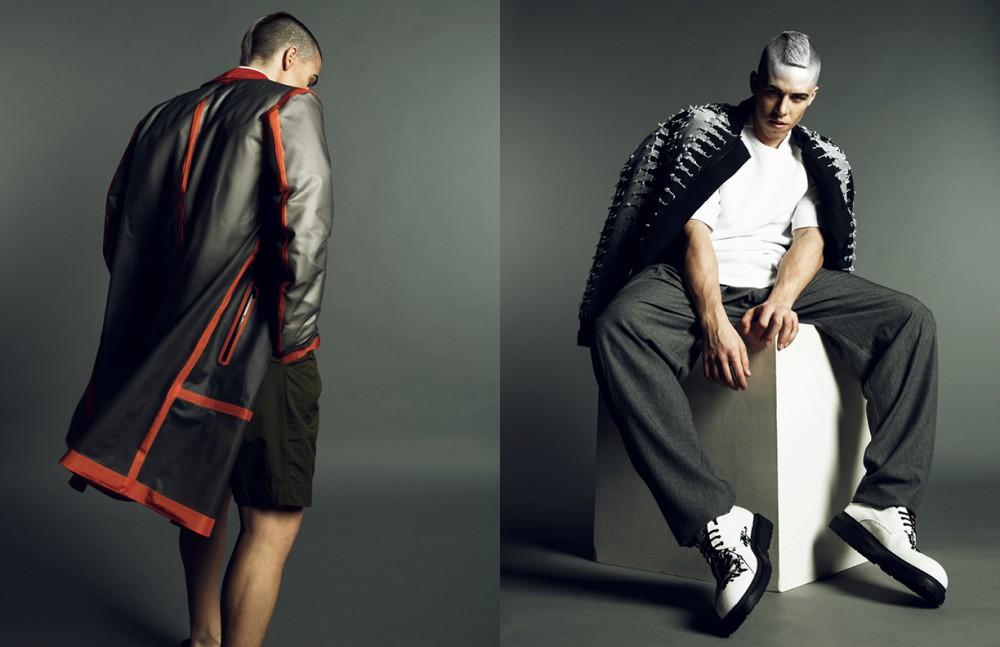 Raincoat / Z Zegna Shorts / Hien Le Opposite Jacket / Tom Rebl Top / Z Zegna Trousers / Maison Margiela by peng! Shop Shoes / Ann Demeulemeester by peng! Shop