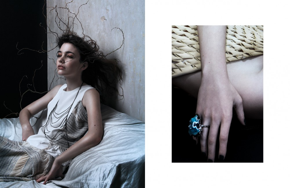 Top & Skirt / Vladimir Karaleev Bodychain / seen at École Boutique Opposite Dress / Lena Voutta Ring / Maripossa seen at École Boutique