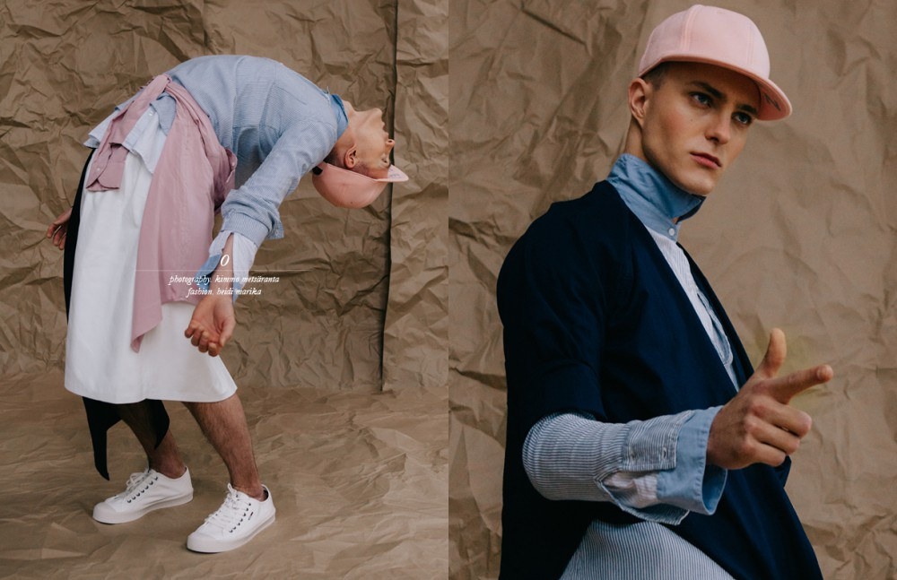 Both Blue Shirts / Hunkydory Pink Shirt / Boomerang Skirt / ONAR Studios Trainers / Tommy Hilfiger Cap / Stylist's Own Opposite Both Blue Shirts / Hunkydory Dark Blue Shirt / GANT Rugger Cap / Stylist's Own