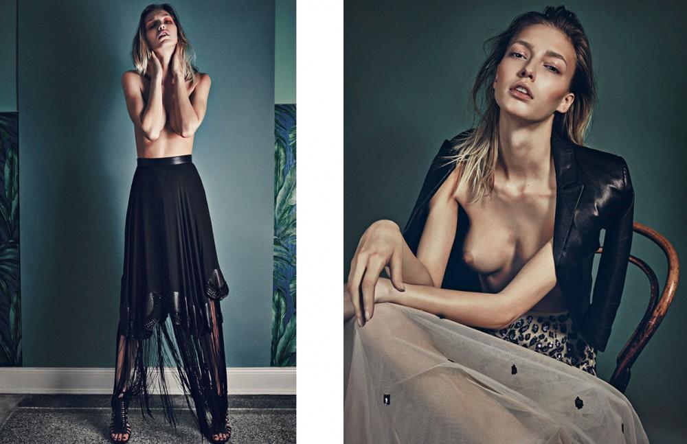Skirt / Augustin Teboul Shoes / Elisabetta Franchi Opposite Skirt / Elisabetta Franchi Leather Jacket / SF