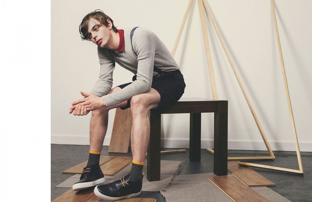 Grey Jumper / Farah Red Polo Shirt / ONLY & SONS Shorts / Diesel Shoes / ALDO Braces / Rokit