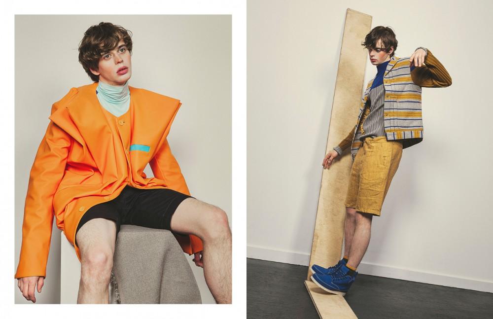 Orange Jacket & Blue High Neck Top / He & DeFeber Shorts / Diesel Opposite Blue-Grey High Neck Top / Emporio Armani Striped Gilet / Levi's Shorts / Oliver Spencer Shoes / He & DeFeber