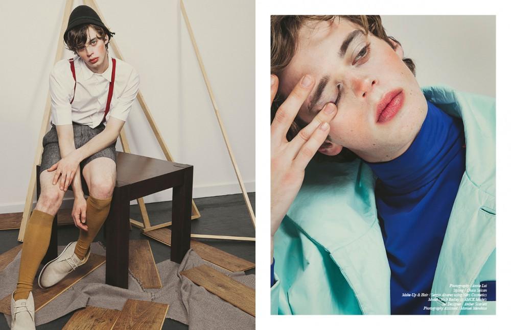 White Shirt / ADPT Shorts / VITO Shoes / Base London Red Braces / Rokit Hat / Hat Shopping Socks / Stylist's Own Opposite Blue Jacket & Top / He & DeFeber