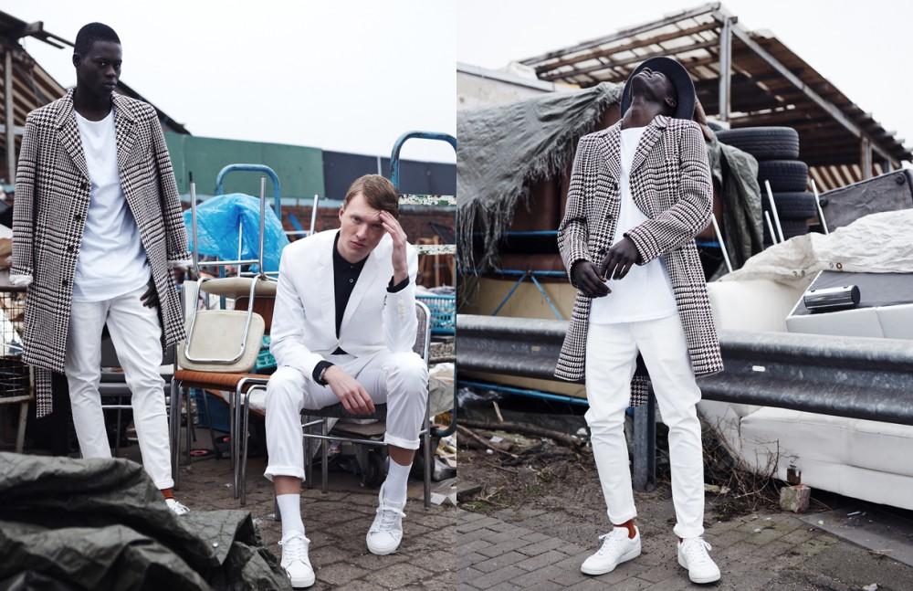 Alpha Dia @ Modelwerk wears Coat / Herr von Eden T-Shirt / JOSEPH Jeans / Versus Versace Socks / FALKE Phillip Wörtmann @ Modelwerk wears Suit / Strellson Shirt / DRYKORN Socks / FALKE Trainers / COS Opposite Alpha Dia @ Modelwerk wears Coat / Herr von Eden T-Shirt / JOSEPH Jeans / Versus Versace Socks / FALKE Trainers / adidas
