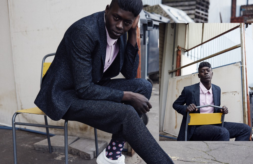 Alpha Dia @ Modelwerk wears Suit & Trainers / COS Poloshirt / Topman Socks / Happy Socks