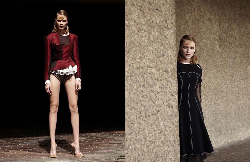 Top / Preen Line Jacket, Briefs & Shoes / Vivienne Westwood Earrings / Rue Gembon Opposite Dress / Andrew GN Dress (underneath) / Preen Line Earrings / Rue Gembon