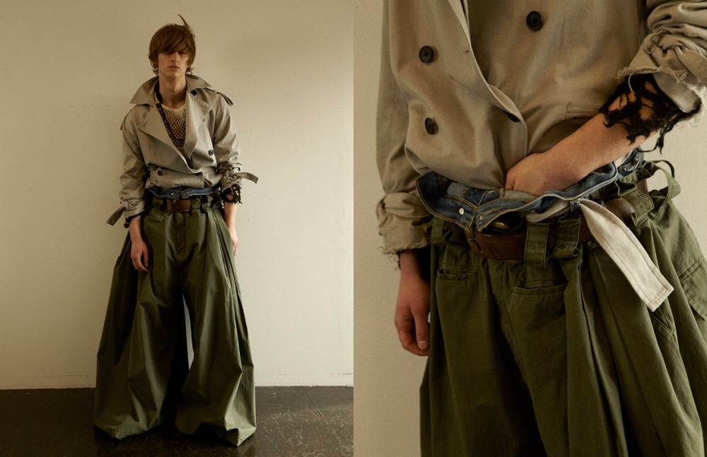 Coat / DRESSEDUNDRESSED Knit & Necklace / Medicineman Trousers 1 / Mikio Sakabe Trousers 2 / MECHA Belt / LABORATORY/BERBERJIN® Mesh Top / Stylist's Own