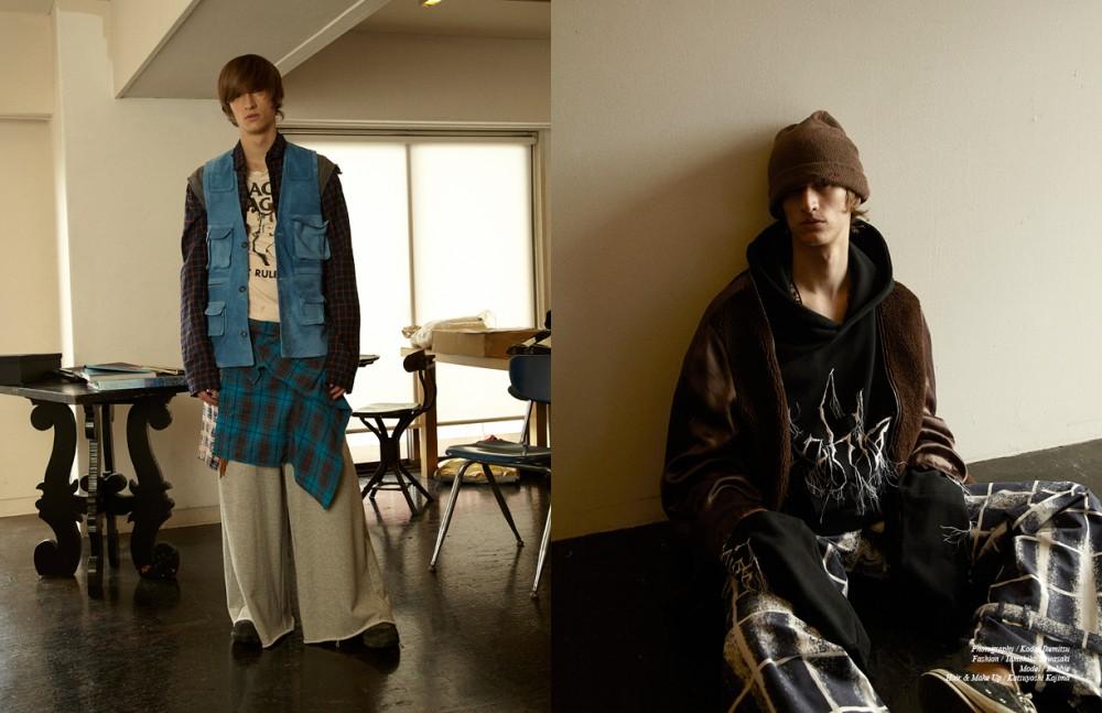 Denim Vest / Jenny Fax Shirt 1 / SURR by LAILA Shirt 2 / YuumiARIA Shirt 3 & Trousers / SUB-ABE. Necklace / Medicineman T-Shirt / Stylist's own Opposite Jacket & Shoes / LABORATORY/BERBERJIN® Hoodie / SUB-ABE. Trousers / DRESSEDUNDRESSED Knit Cap & Necklace / Medicineman
