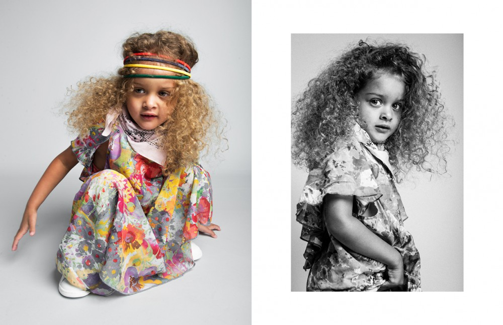 Laila wears Headbands / Hair Stylist's Own Bandanna / Stylist's Own Dress / Stella McCartney Kids Trainers / adidas