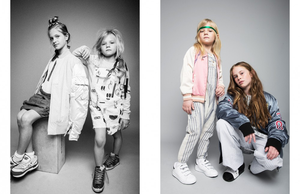 Natalija (left) wears Jacket / rag & bone Top / Sandro Green Skirt / Denim Dungaree Matilda (right) wears Jumper / Polo Ralph Lauren White Jumpsuit / Kenzo Kids Trainers / Golden Goose Opposite Matilda (left) wears Headband / Hair Stylist's Own Jacket / Stella McCartney Kids Jumpsuit / Boy + Girl Trainers / adidas Sophianna (right) wears Jacket / Diesel Trousers / Sleepy Jones Slip Ons / Givenchy