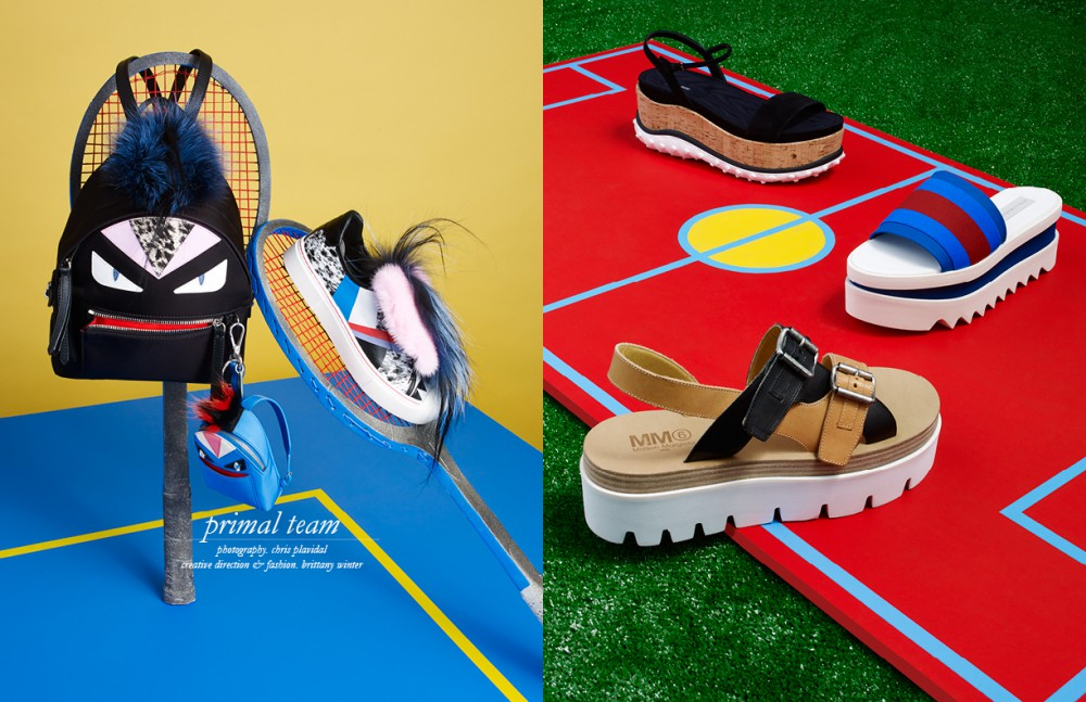 Backpack / Fendi Charm / Fendi Sneaker / Fendi Opposite From top to bottom Sandal / Miu Miu Sandal /Stella Mccartney Sandal / MM6 Maison Margiela