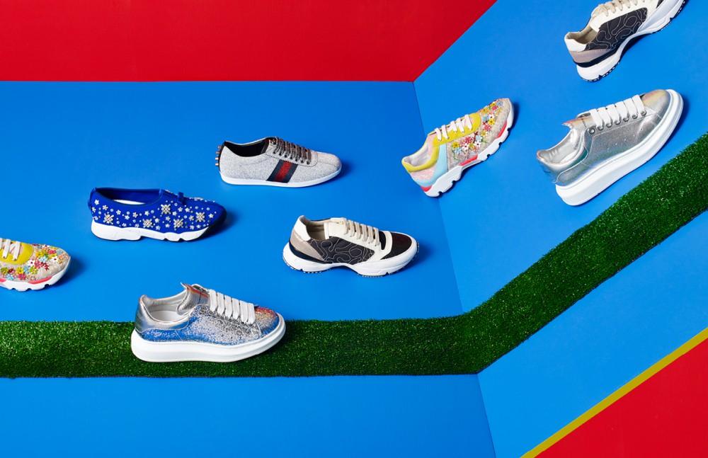 From left to right Sneaker / Rene Coavilla Flower Sneaker / Dior Sneaker / Alexander McQueen Sneaker / Gucci Sneaker / Brunello Cucinelli Sneaker / Rene Coavilla Sneaker / Alexander McQueen