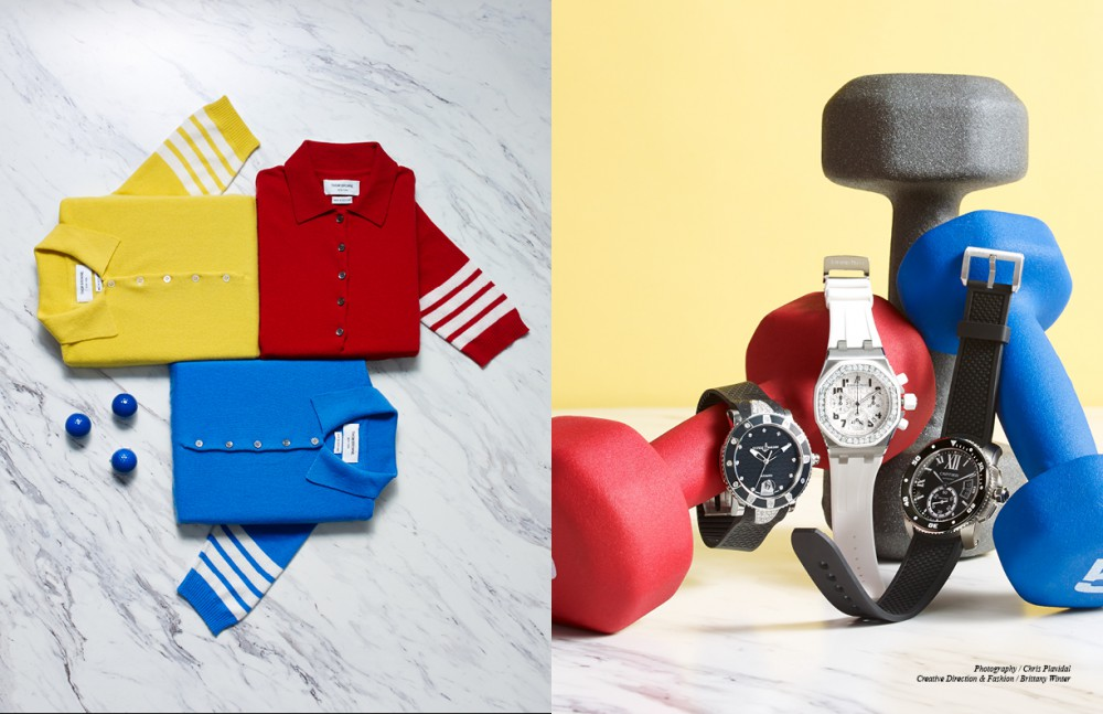 Jumpers / Thom Browne Opposite From left to right Ulysse Nardin Women Diver Watch Audemars Piguet Offshore Watch with Diamonds Cartier Men's Diver Watch