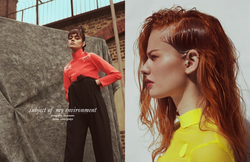 Orange Neoprene Jacket & Trousers / Maria Piankov Opposite Yellow Mesh Long Sleeve / RUN Earrings / Topshop