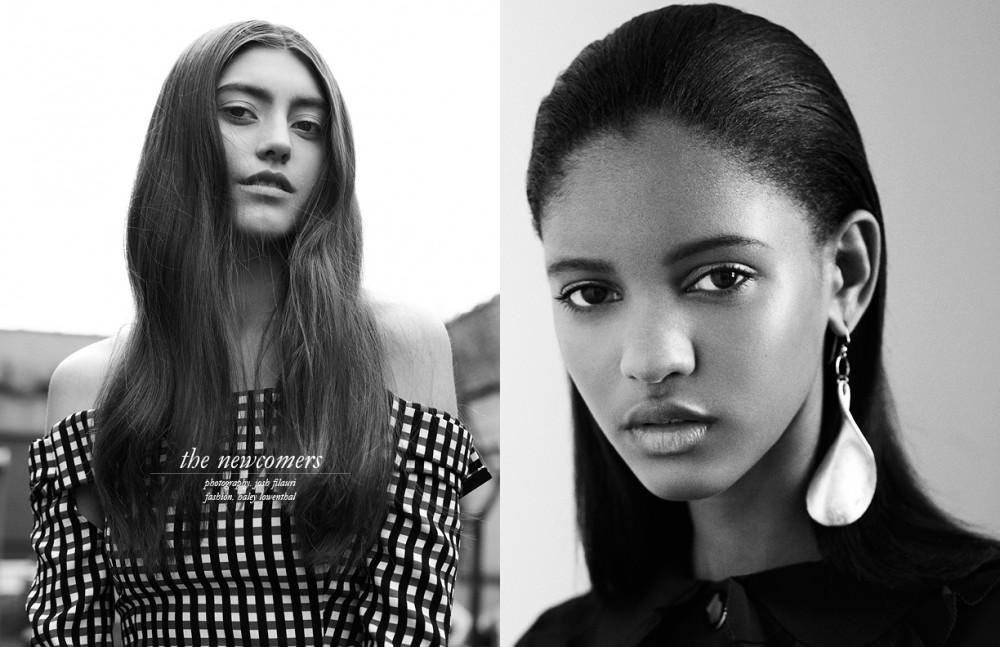 Diana @ Wilhelmina wears Top / Preen by Thornton Bregazzi Opposite Nicoletta @ Wilhelmina wears Dress / Orla Kiely Earring / Mounser