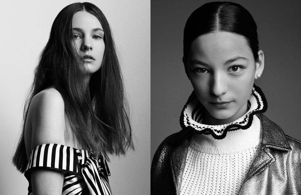 Morgan @ Wilhemina wears Dress / MONSE Opposite Katherine @ Wilhelmina wears Top / 3.1 Phillip Lim Jacket / Belstaff