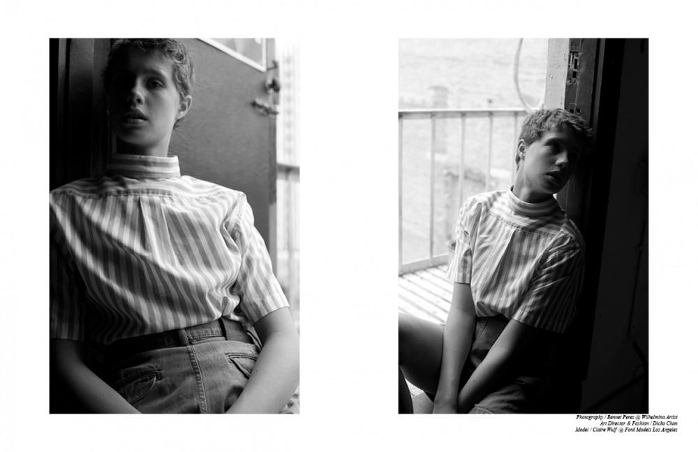Striped Button Down / Vintage Brooks Brothers Denim Shorts / Études Studio