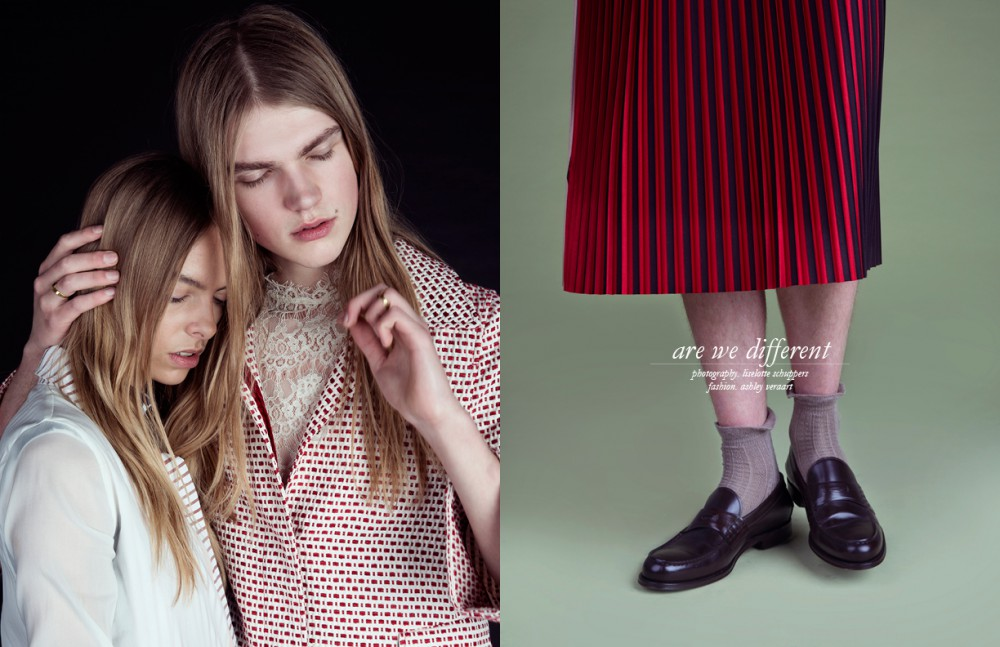 Danii @ Elite Model Management (Left) wears Blouse / Maison The Faux Hugo @ Brooks Modelling Agency (Right) wears Lace Top / Bruuns Bazaar Coat / Oilily Rings / Mimi Et Toi Opposite Hugo @ Brooks Modeling Agency wears Skirt / Avelon Socks / Stylist's Own Shoes / Hugo Boss