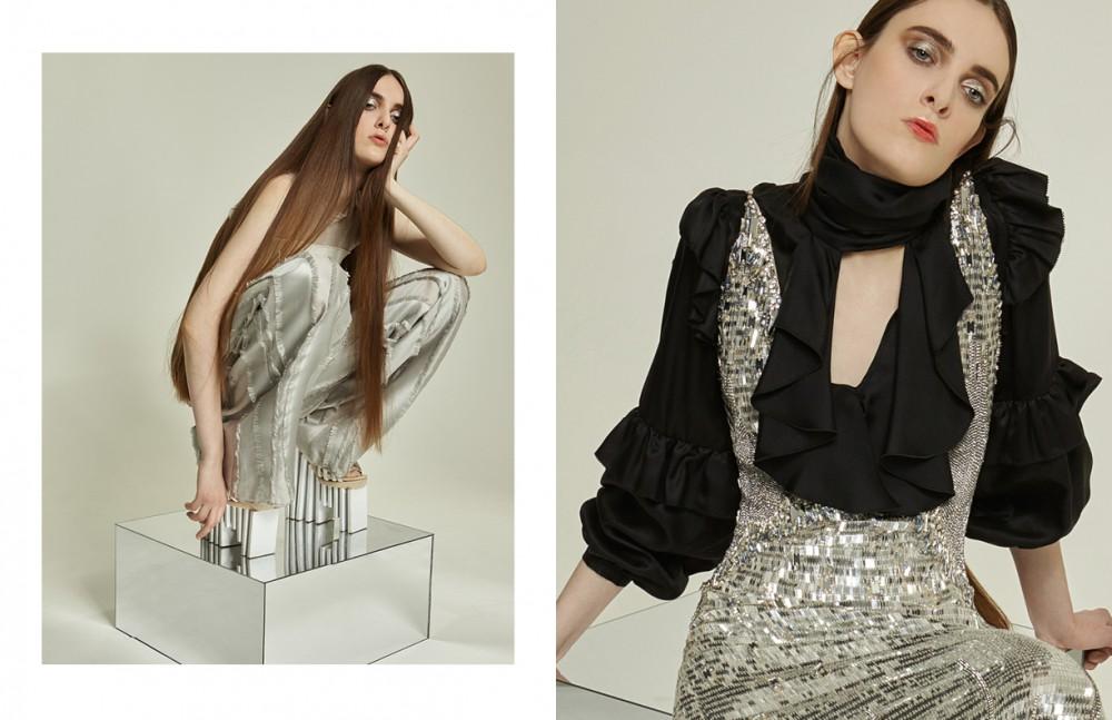 Top / Todd Lynn Trousers / Amanda Wakeley Shoes / Carolin Holzhuber Opposite Shirt & Dress / Temperley London