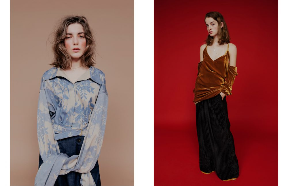Esther Deboaisne wears Top / Catherine Heitzmann Opposite Adèle Barthelemy wears Top & Skirt / Tiphaine Guiran