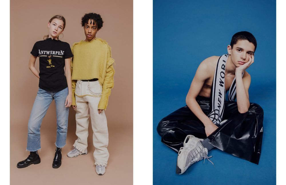 Céleste Martin wears Top / Vetements Jeans / Lévi's Boots / Vintage Noah Bikie wears Trousers & Top / Irène Guarenas Trainers / Nike Opposite Benjamin Bouhnik wears Trousers / Tiphaine Guiran Scarf / Posh Trainers / Nike