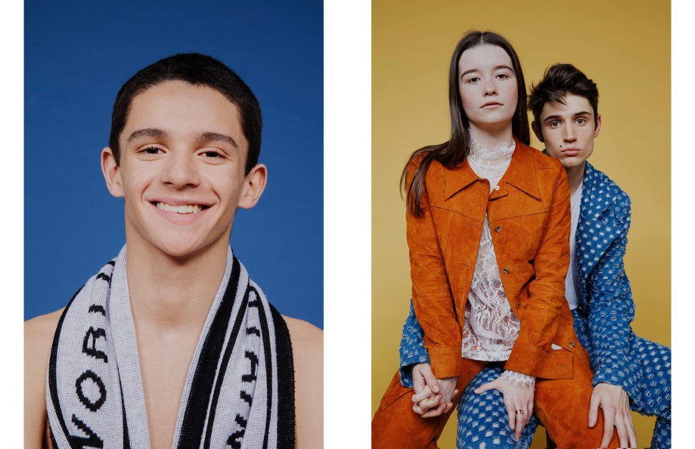 Benjamin Bouhnik wears Scarf / Posh Opposite Eleonore Serres wears Top / & Other Stories Suit / Vintage Nahuel Serrano wears Suit / Alexandre Pham