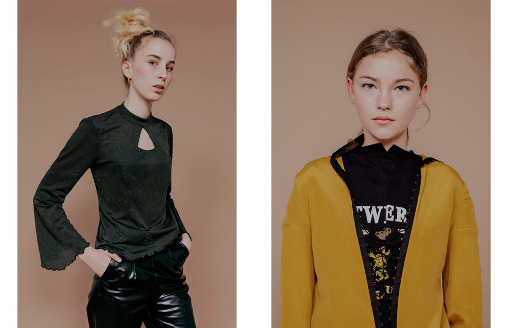 Luna Martin wears Top / Vintage Trousers / Tiphaine Guiran Opposite Céleste Martin wears T-Shirt / Vetements Dress / Tiphaine Guiran