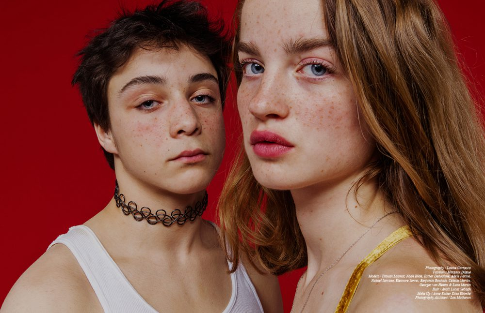Titouan Lahmar & Adèle Barthelemy wear Necklaces / Acne Studios