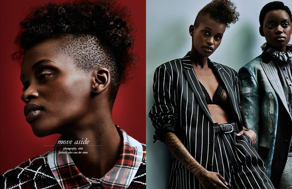 Nella @ Ego's Models wears Shirt / Elisabetta Franchi Dress / Edwin Oudshoorn Couture Opposite Nella @ Ego's Models wears Suit / ASOS Bra / Love Stories Intimates Belt / BOSS Panjua @Paparazzi Models wears Shirt & Skirt / Edwin Oudshoorn Couture Blazer / Diesel Black Gold
