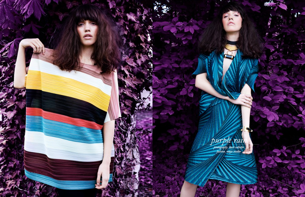 Shirt / Issey Miyake Trouser / Karl Lagerfeld Opposite Necklace & Bracelets / Uriel Salas Blouse & Skirt / Issey Miyake