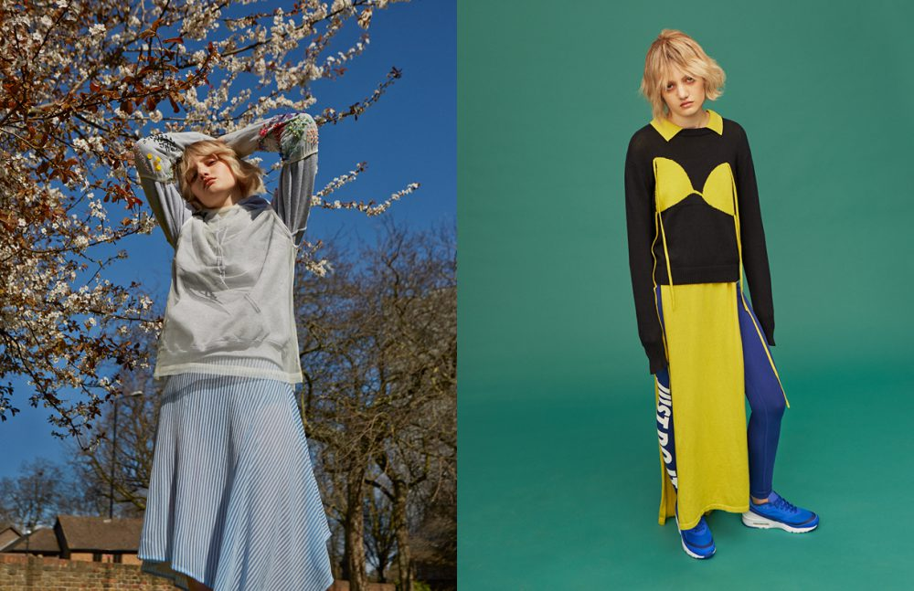 Hoodie / Nike Gloves & Mesh Top / Ashish Dress / Dagmar Opposite Sweatshirt & Dress / Christopher Shannon Leggings & Shoes / Nike